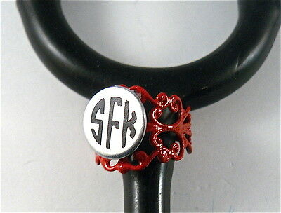 Stethoscope Id Tag Ring Cuff  Red Lace Charm, Nurse,paramedic,emt,doctor,vet.er,