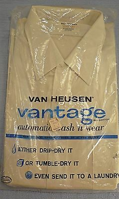 Van Heusen Vantage 50s white dress shirt Dual cuffs 16x35 cotton Wash & Wear NOS