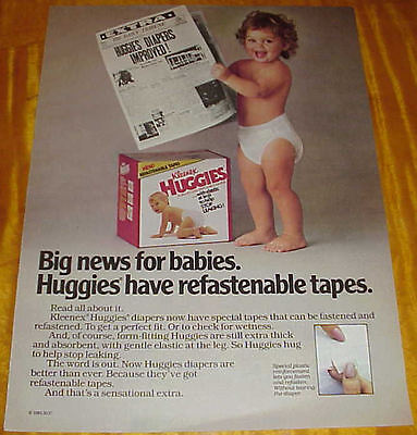 "1984 Huggies Baby Diapers Ad Cute Little Girl Newspaper ""Improved!"" #110316"