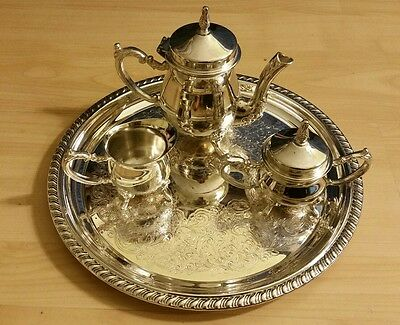 Vintage Decorative Sterling Silver Footed Small Tea & Coffee Set WITH tray