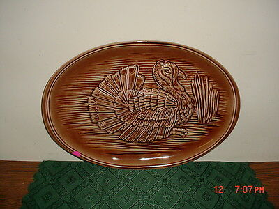 "McCOY POTTERY LARGE ""TURKEY"" OVAL 16 1/2"" SERVING PLATTER/#9370/BROWN/CLEARANCE"