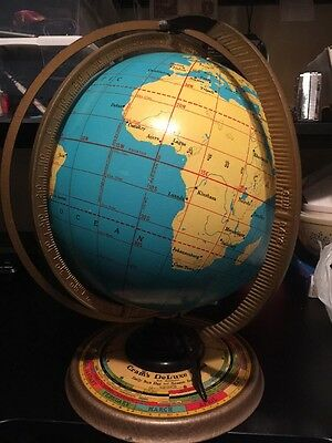 "Vintage Rare 1936 Gram's Deluxe World Globe 12"" Daily Sun Ray Season Indicator"