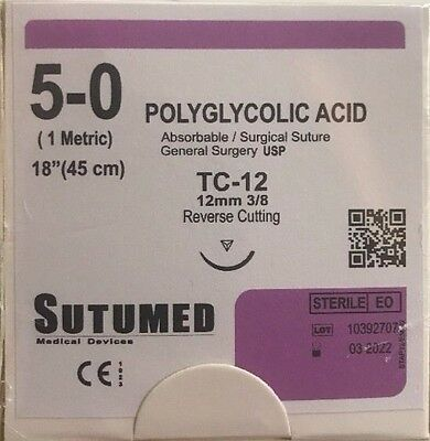 SUTUMED POLYGLYCOLID ACID 5-0, 3/8 12mm reverse cutting needle Surgical Suture