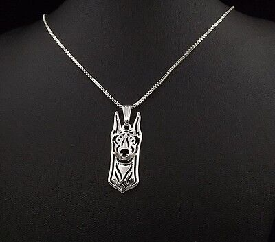 Doberman Jewelry Necklace Pendant Silver Plated