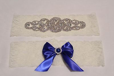 Something Blue Garter Set, Lace and Rhinestone Wedding Garter Set US SELLER