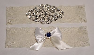 Something Blue Wedding Garter Set, Rhinestone and Lace Garter Set US SELLER