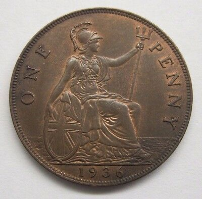 1936 Great Britain One Penny. Nice Details / Some Lustre. See Details & Pictures