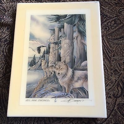 Hard to Find Jody Bergsma Signed Tile! ALL ARE SACRED Wolves Totem Poles FREE SH