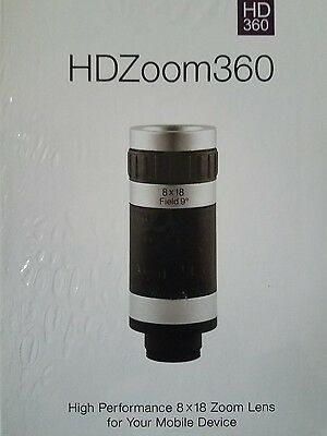 HDZoom360 Ultra HD High Performance 8x18 Zoom Lens for iPhones Androids - NEW A2