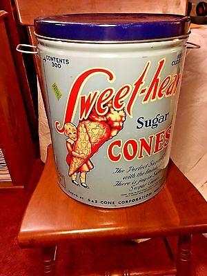 """Vintage """"Sweet-Heart"""" Ice Cream Cone Tin Canister Container 15.25"""" Tall 1 Ft. Di"""