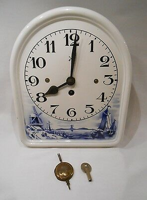 Vintage Delft Enamel  Arched Plate 8 Day Clock with Pendulum & Key