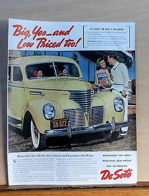 1939 magazine ad for DeSoto - Size, Luxury and Smartness You Want, colorful