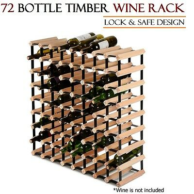 72 Bottle Timber Wine Rack Cellar Storage Stand Lock & Safe Quality Pine Wood