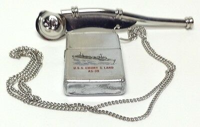 U.s. Navy Ship Lighter, The Uss Emory S. Land As-39  ( // Zippo // ) 1978