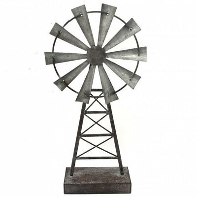 Windmill Statue Ornament Sculpture Metal Tabletop Rustic Country Garden Decor 41