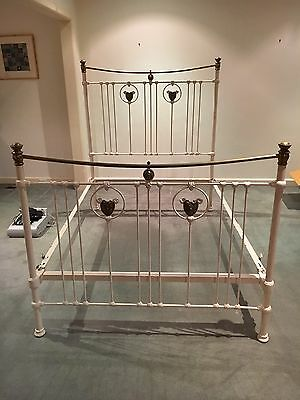 Decorative Victorian Iron And Brass Double Bed