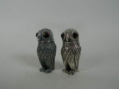 Antique Continental Silver Salt and Pepper Shakers, Owls with inset glass eyes.