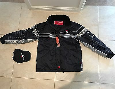 Jason Rickards V8 Mens Racing JACKET + CAP -  LARGE Pinstripe ORIGINAL NEW BLACK