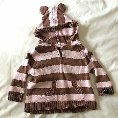 Oobi Knitted Baby Girl Bear Jumper Top. Size 0-1y. EUC. Stripes