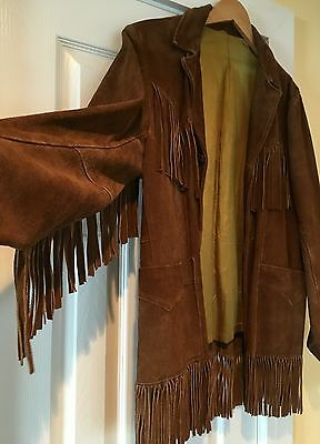 Vintage 1970s Fringed Suede Leather Jacket Coat Hendrix Hippie 42 Pioneer Wear