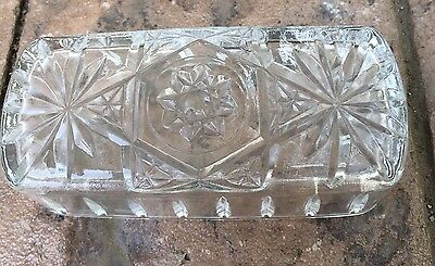 Anchor Hocking Star of David Clear Glass Butter Dish LID only