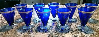 Lot of 10 Rare Vintage COBALT BLUE GOLD RIM Wine, Water or Cocktail Glasses