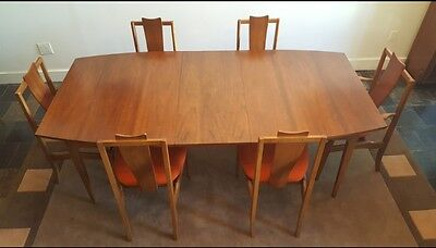 Danish Modern Teak Dining set style of Arne Vodder 6 Chairs, Table with 2 leaves