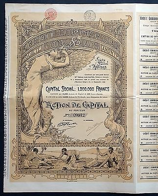 1898 Belgian Congo: Credit Commercial Congolais - Action de Capital