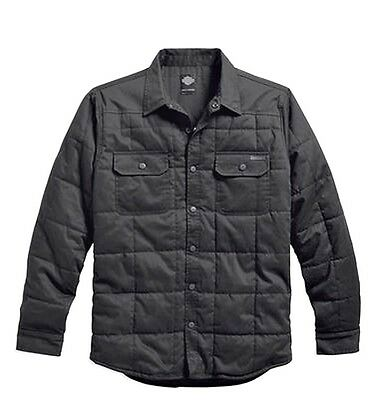 Harley-Davidson® Men's Quilted Shirt Jacket Coat, Cotton Twill Black - 3XL