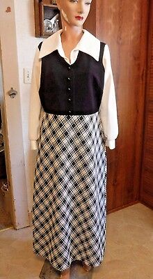 VINTAGE 70's Black + White Checked Floor Length Dress-MOD FUNKY