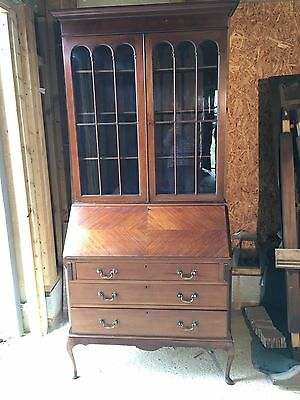 Superb Antique Mahogany Bureau Bookcase By Jas Shoolbread Of London