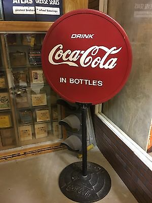 VinTaGe OriGiNaL COCA COLA Sign CAST IRON BASE Soda Pop w Double Sided COKE Sign