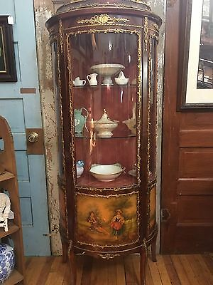 Antique French Style Curved Glass Vitrine Curio Cabinet With Painted Scenes