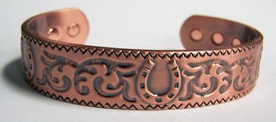 bid on WESTERN HORSE SHOE SOLID COPPER STRONG SIX MAGNETS unisex CUFF BRACELET