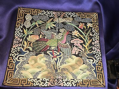 Antique 19C Hand Embroidered Chinese Rank Badge Colorful Peacock