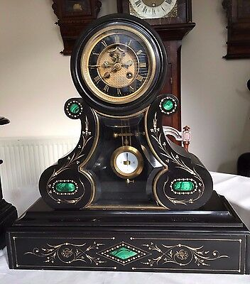 A Fabulous French Slate And Green Marble And Gilt Inlay Mantle Clock Circa 1870