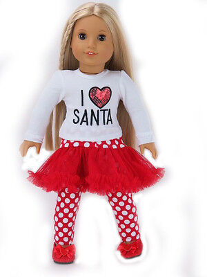 """XMAS Santa Claus White Top Hot Red Skirt Tutu 18/"""" American Doll Party Outfit Set"""
