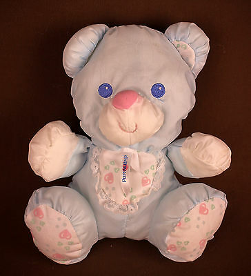 Puffalump blue bear Plush Doll * Rattle * Fisher Price 1214 Vintage 1994 * NICE