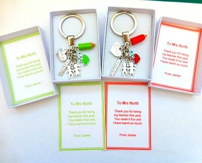 Thank you gift for Teacher Key ring End of Term Gift Boxed & Personalised