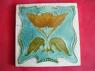 art nouveau tile (with hairline) - blue/green/yellow pattern