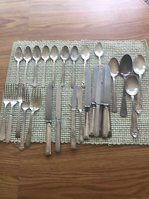 Lot of 28  Silver Plate Flatware Forks Spoons Knives Vintage