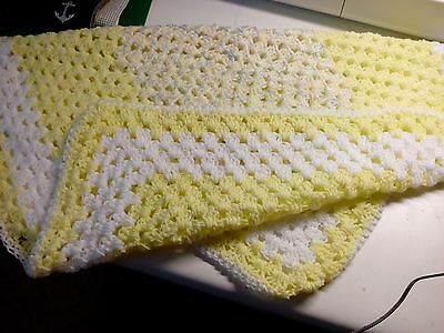 "Handmade Baby Afghan Crochet yellow and white"" Crib Blanket or Wrap"