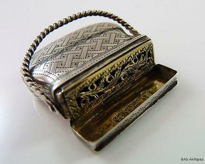 Antique 19thC Novelty Purse Shaped English Sterling Silver Vinaigrette - 1830
