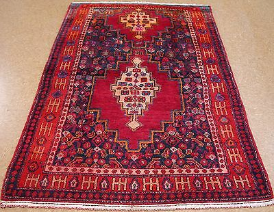 5 x 7 PERSIAN HAMEDAN Tribal Hand Knotted Wool REDS BLUES IVORY Oriental Rug