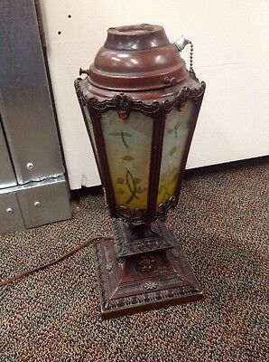 Antique Vintage Reverse Painted Rib Panel Glass Table Lamp 1930's????