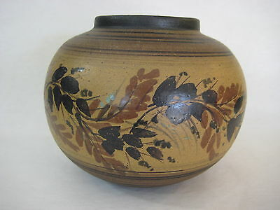 Old Hand Painted Oriental Artist Chinese/japanese Art Pottery Pot Vase, Signed