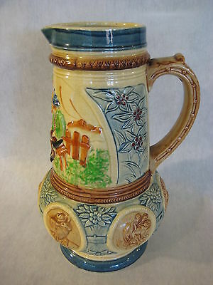 "Vintage Japanese Hand Painted Porcelain/Pottery ""K"" Kyoto Pitcher, 10 1/4"" Tall"