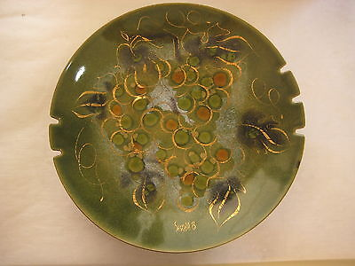 "Vintage Sascha Brastoff Pottery Enamel On Copper Grape Plate, 11 1/2"" Diameter"