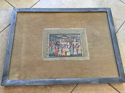"""Antique India Hindu Handpainted on Paper with Metal Frame, 9"""" x 6 3/4"""" (Image)"""