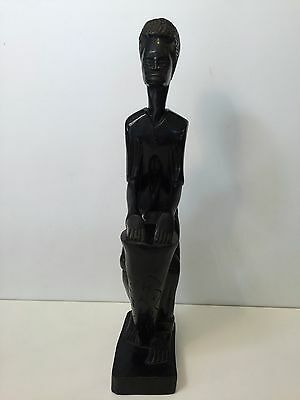 """Vintage African Ebony Wood Handcarved African Drummer Statue, 19 3/4"""" Tall"""